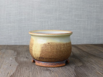 Selling: bonsai pot in yellow and cream glazes